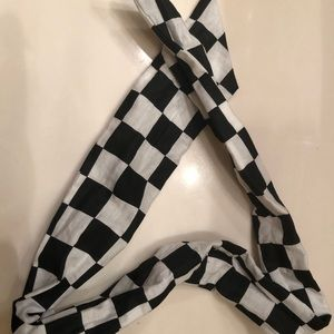 Checker Print Scarf Wired Headband Ascot Race